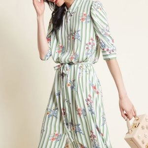Modcloth Meadow Meet-up Green Striped Shirt Dress